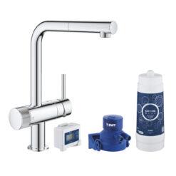 Grohe Blue Pure Minta 30382000 Кухонный смеситель однорычажный, 295 мм, с вытяжным душем, с фильтром для питьевой воды, стартовый комплект, хром
