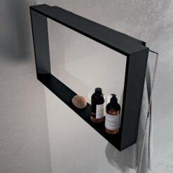 Frame R90AKFPO4070-H Полка подвесная на стекло 700*400*120 мм, с 4 крючками, матовая чёрная
