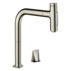 Metris Select M71 73819800 Кухонный смеситель на 2 отверстия, однорычажный, 208 мм, с вытяжным душем, 2jet, супер сталь