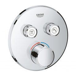 SmartControl 29145000 Смеситель для ванны скрытого монтажа круглый, с кнопками для 2 потребителей воды, хром