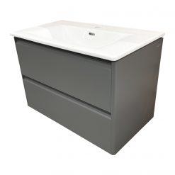 Palace 8.6170.5.266.104.1 Комплект 800*450*545 мм, раковина slim с мебельным модулем с двумя ящиками, вкл. органайзер для ящика, с ручкой из чёрного алюминия, серый асфальт